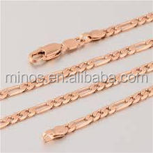 New Arrival Unique18K Rose Gold Plated Women's Figaro Chain Necklace, DIY Stainless Steel Chain
