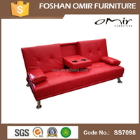 Faux Leather Brown Sofa Bed Couch with cup holders