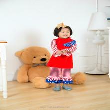 2015 wholesale fashion children fall clothes new design baby girls cotton ruffle pants set