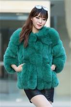 high quality blue fox fur coat for women wear Korea 004
