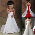 ff0012 de color rojo y blanco de bebé niña princesa cenicienta vestidos vestidos de flores niña