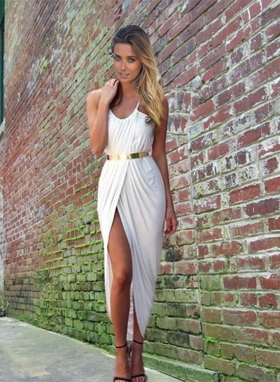 New 2015 Summer Women Neon Asymmetry Slit Beach Dress Ladies BlackWhiteRed Party Evening Maxi ...