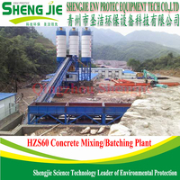 HOT SALE HZS 60 Concrete Batching Plant With PLD 1600 Batching machine