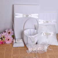 Wholesale wedding five things ring pillow/girl flower basket/guest book pen/bride leg-sleeve
