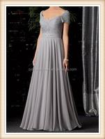 low price long beaded cap sleeves sweetheart waist belt A-line chiffon grey color evening dress