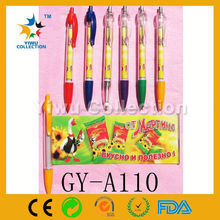 plastic ballpoint pen,ballpoint with pull-out flag,plastic banner pens
