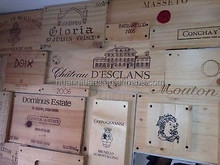 24 Assorted BRANDED WINE PANELS. CRATE /Box SIDE /End Tops / Wood Diff. Sizes