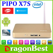 2015 HOT PIPO X7S Smart TV BOX Android 4.4 Dual OS Arabic IPTV Intel Z3736F 2G RAM 32G ROM Quad Core media player
