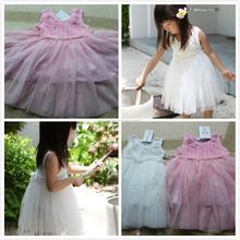TF-04150808028 Vestido de princesa de rosas blancas de 2015 Nueva falda chaleco sin mangas para niña