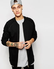 cotton Raglan sleeves zip sweatshirt Ribbed hem and cuffs men Longline Jacket