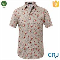 2015 Fashionable organic cotton spread collar printed shirts bangalore