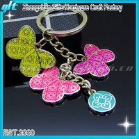 Fashionable butterfly shape metal Key chain for lady decoration