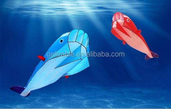 Single line easy flying no frame dolphin soft kite shipping free (1).jpg