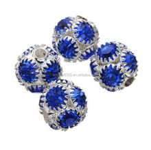 10mm Blue Crystal Rhinestone Ball Spacer Beads For Jewelry Diy