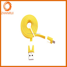 Flat noodle design Micro USB V8 data cable portable charging cable for andriod