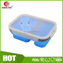 Alibaba recomment silicon bento box / microwave safe silicon food container -Blue