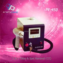 Beauty equipment. 2 in 1 tatoo & spot removal PF-450(CE)2014 Hot sale taboo machine&beauty salon equipment,guangzhou