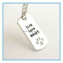 """2015 new Rectangular Dog Tag Style Pendant Necklace Cat Dogs """" live love adopt """" Pet Rescue Paw Print Tag Wholesale Jewelry"""