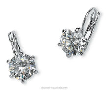 Platinum Plated Round 3A Cubic Zirconia silver stud drop earring wholesale