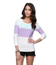 Womens Long Sleeve Colorblock Raglan Top /garment factory