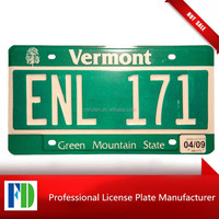 VERMONT fancy embossed number plate,green background license plate