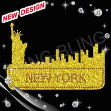 city NEW YORK silhouette iron on transfer glitter