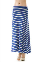 Hot Selling Stripe Print Stretch Maxi Length Skirt