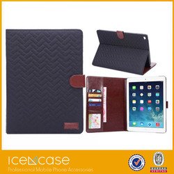 2015 new fashion minion tartan pattern folding protective cover case for iPad air2