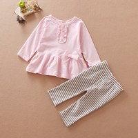 For 12 to 24 Month Old Baby Girls 100% Cotton High Quality Clothing Set Name Brand Kids Clothing Wholesale