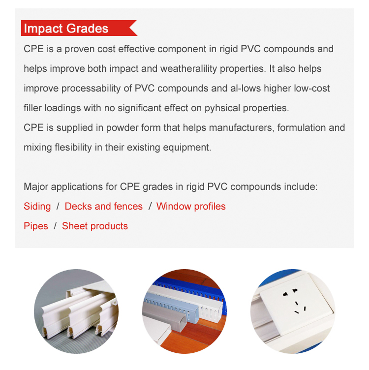 Pvc impact modificateur cpe135a fabricant