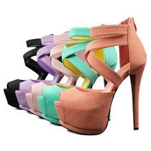 2015 New Brand European Sexy Lady's Open Toe Platform Pumps 14cm Stiletto Women Thin Heel Party Shoes High Heels 6 Color
