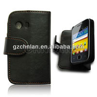 New arrival Black leather flip mobile phone cover case for samsung galaxy y s5360