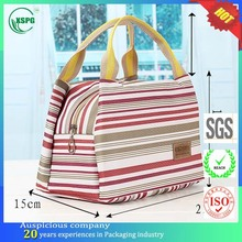 Safe keep fresh three color striped thermal lined cooler bag