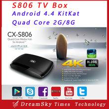 Original CX-S806 Android TV Box Amlogic S812 Quad Core 2GHz 2GB/8G B Bluetooth 4.0 WiFi 4K*2K HD 1080P Media Player Smart TV