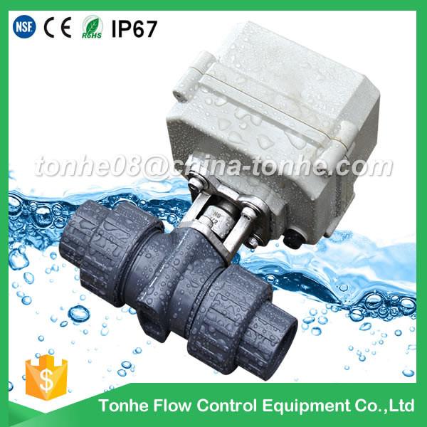 12v 24v electrical plastic actuator motorized pvc ball valve