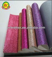 Fashion leather fabric shiny pvc leather with glitter