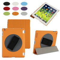 Rotating 360 degree handheld smart cover for iPad, handheld case for iPad 2/3/4
