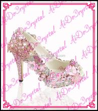 Aidocrystal pink Luxury Handmade Elegant closed toe wedding high heels women shoes for Evening Party