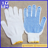 White Cotton Grip Gloves For Construction Industry