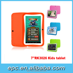 2015 Game 7 inch Android 5.1, RK3126 dual core kids tablet with silicone case pink box tablet alibaba china