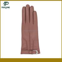 Custom ladies leather hand glove with belt
