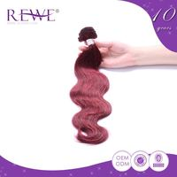 Exceptional Quality Soft And Smooth Weave Dark Red Short Hair With Highlights Dye
