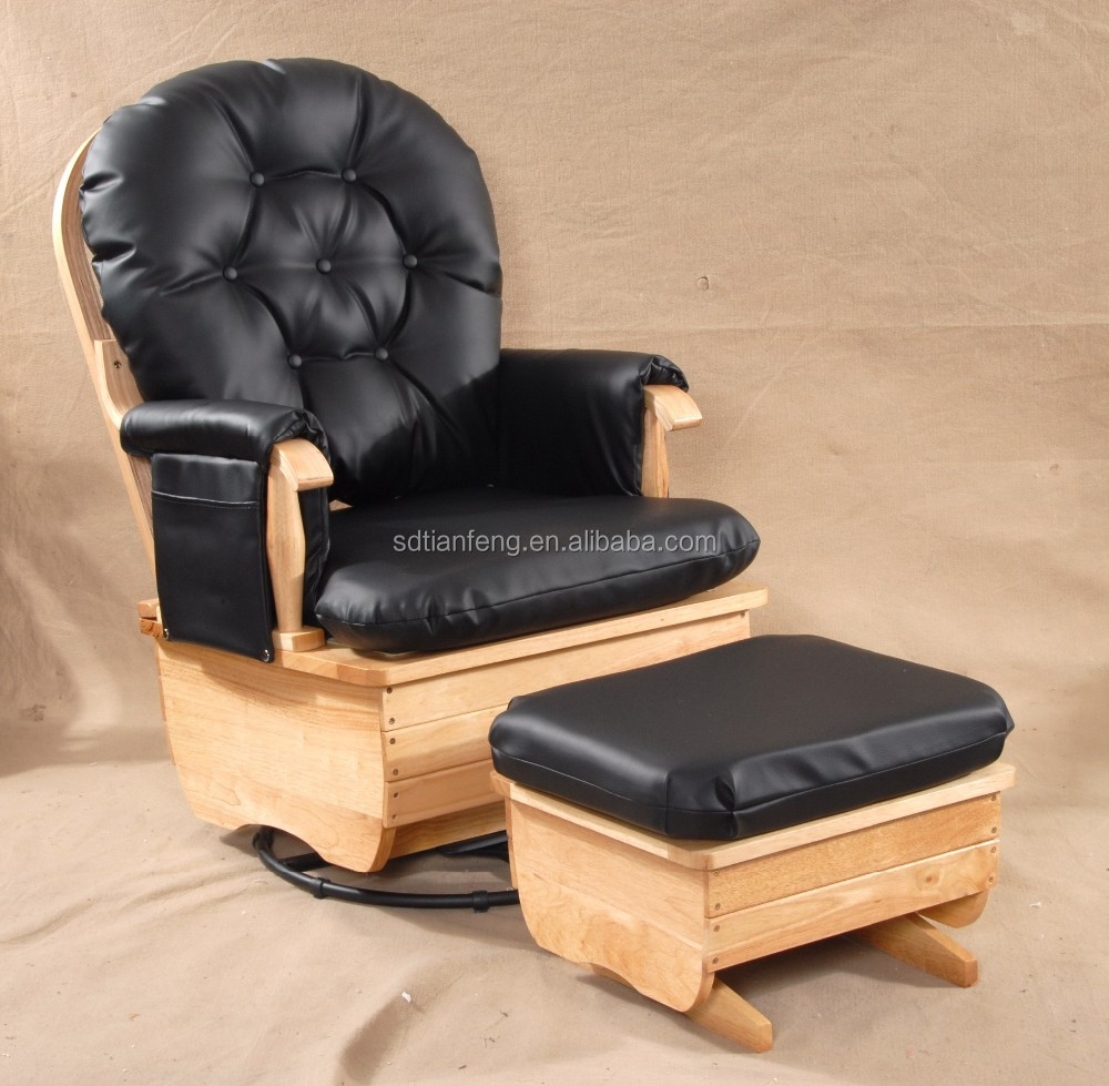 big seat pu cushion natural wood rocking chair with ottoman buy