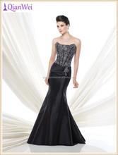 hot sale factory wholesale price long lace appliqued top mermaid fishtail black velvet evening dress