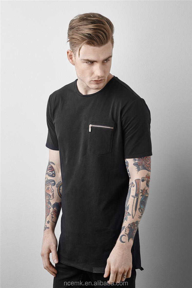 Black t shirt with zipper mens oversized t shirt wholesale for Black t shirt mens fashion