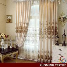 Modern Crazy Selling grommet top polyester embroidery curtain