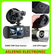 X3000 Dual Camera 2.7 inch screen 720p with gps logger dual camera dash cam