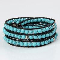 High Quality Fashion Jewelry Wrap Beaded Bracelets Turquoise 4 Wrap Leather Bracelet Handcraft Weave