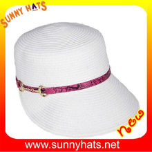 Fashion Ladies Black And White Paper Straw Summer Hats Cheap Wholesale Decorate Gold Ribbon