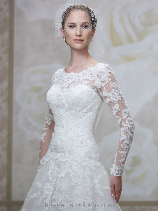 White high neck ball gown backless long sleeve lace for High neck backless wedding dress